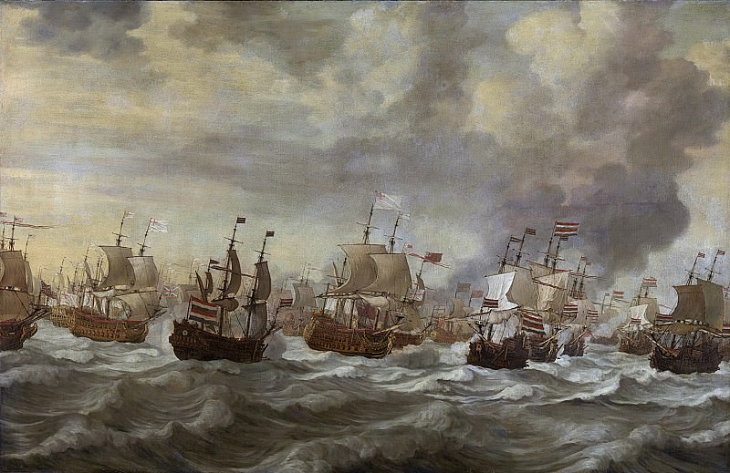 Виллем ван де Вельде (I) -- Эпизод четвертого морского сражения 11-14 июня 1666 года в ходе второй войны с Англией на море (1665-1667), 1666 - 1693. Рейксмузеум: часть 1