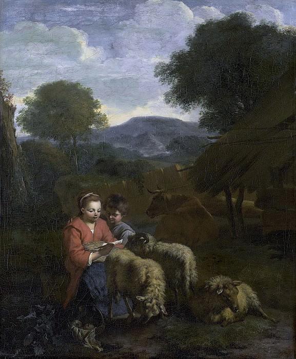Симон ван дер Дус -- Опрятная пастушка за чтением, 1706. Рейксмузеум: часть 1