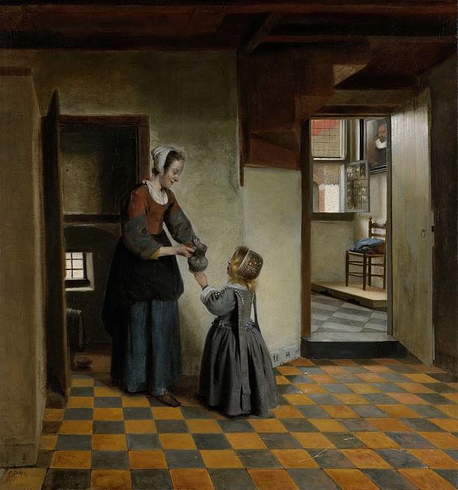 Hooch, Pieter de -- Een vrouw met een kind in een kelderkamer, 1656-1660. Rijksmuseum: part 1