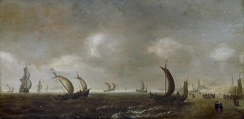 Diest, Willem van -- Zeegezicht aan het strand te Scheveningen, 1640 - 1660. Rijksmuseum: part 1