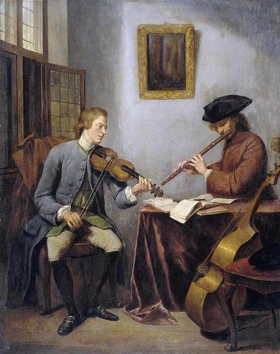 Quinkhard, Julius Henricus -- Een violist en een fluitist musicerend, 1755. Rijksmuseum: part 1