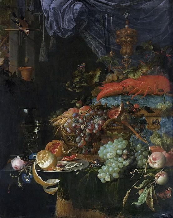 Абрахам Миньон -- Натюрморт с фруктами и щеглом, 1660-79. Рейксмузеум: часть 1