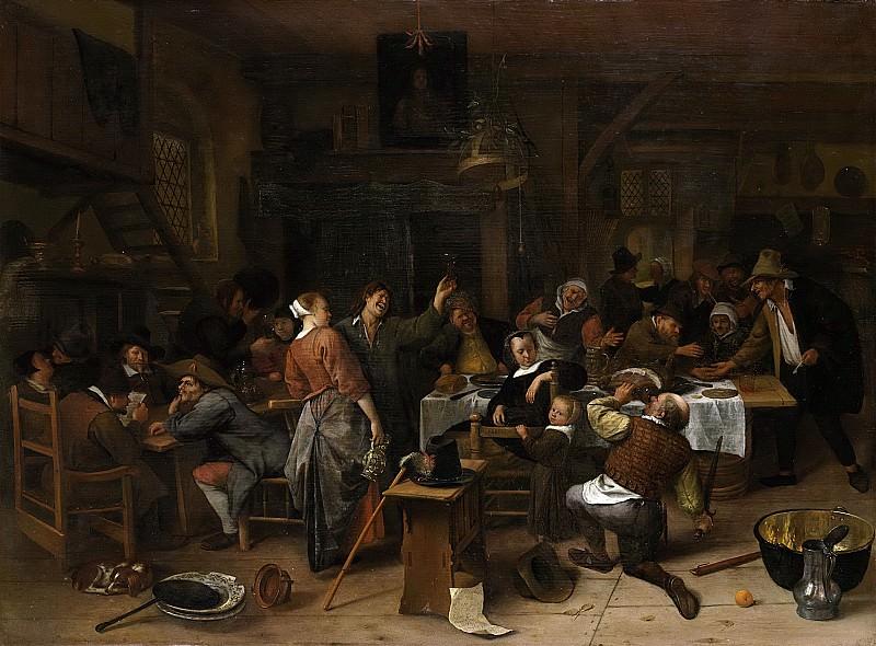 Steen, Jan Havicksz. -- Prinsjesdag. Het gezelschap viert de geboorte van prins Willem III, 14 november 1650, 1650 - 1679. Rijksmuseum: part 1