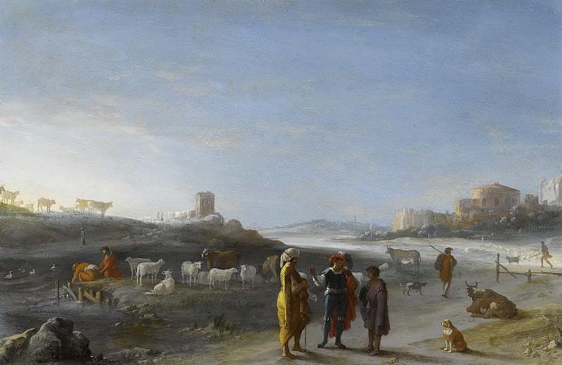 Poelenburch, Cornelis van -- Italianiserend landschap met een oudtestamentisch onderwerp, 1620 - 1627. Rijksmuseum: part 1
