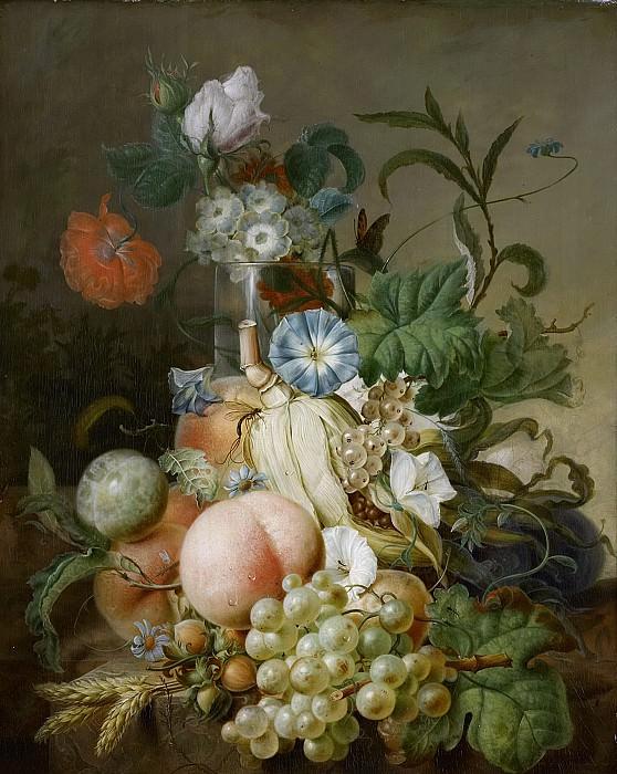 Ян Эверт Морель (I) -- Натюрморт с цветами и фруктами, 1800 - 1808. Рейксмузеум: часть 1