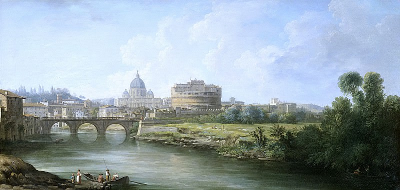 Demachy, Pierre Antoine -- Gezicht op de Engelenburcht te Rome, 1750 - 1800. Rijksmuseum: part 1