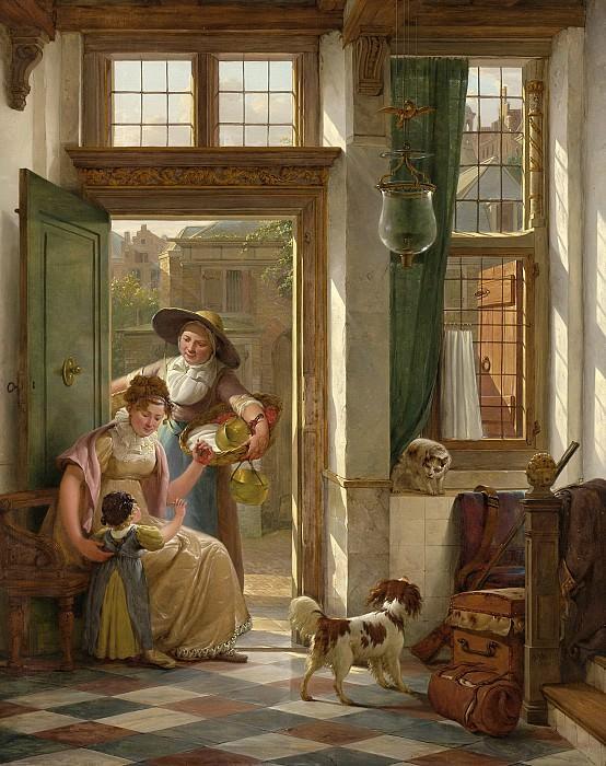 Strij, Abraham van (I) -- Een kersenverkoopster aan de deur, 1816. Rijksmuseum: part 1