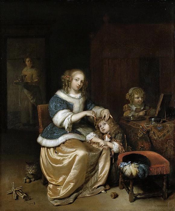 Netscher, Caspar -- Interieur met een moeder die haar kind kamt. Rijksmuseum: part 1