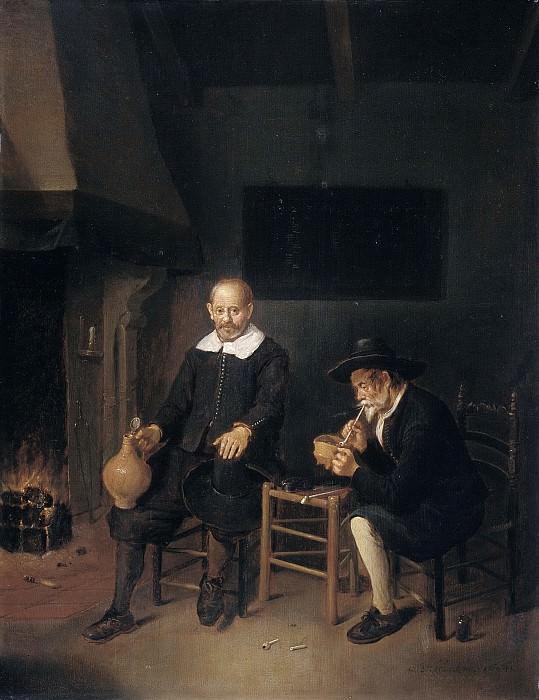 Brekelenkam, Quiringh Gerritsz. van -- Interieur met twee mannen bij het vuur., 1664. Rijksmuseum: part 1