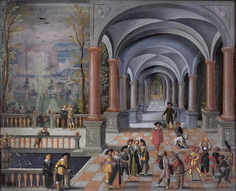 Monogrammist DB (schilder) -- Feestvierend gezelschap en figuren uit de Commedia dell'Arte in een galerij, 1634. Rijksmuseum: part 1
