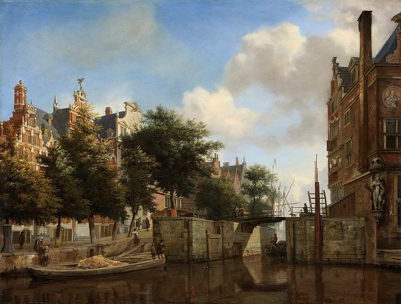 Heyden, Jan van der -- De Nieuwe Zijds Voorburgwal met de Oude Haarlemmersluis te Amsterdam (met topografische vrijheden), 1667-1670. Rijksmuseum: part 1