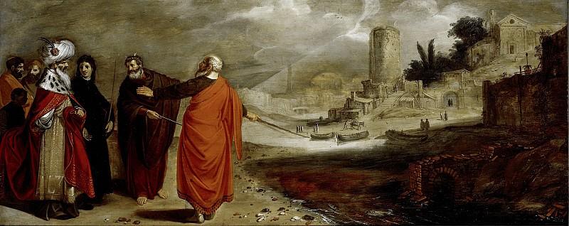 Pynas, Jan Symonsz. -- Aäron verandert het water van de rivier in bloed, 1610. Rijksmuseum: part 1