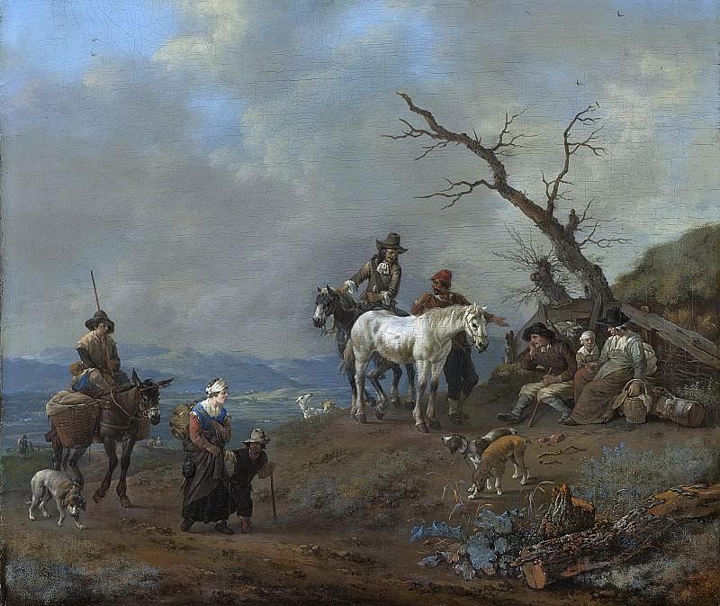 Lingelbach, Johannes -- Landweg met jager en landlieden, 1650-1674. Rijksmuseum: part 1
