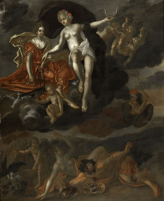 Malsen, T. van -- Diana en Virtus bestraffen Venus en Bacchus, 1694. Rijksmuseum: part 1