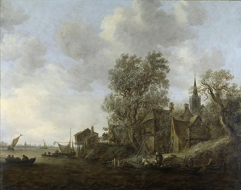 Goyen, Jan van -- Gezicht op een dorp aan een rivier, 1645. Rijksmuseum: part 1