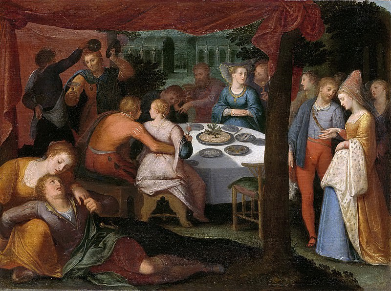 Отто ван Веен -- Сцена ужина в лесу из неизвестного спектакля, 1600-1613. Рейксмузеум: часть 1