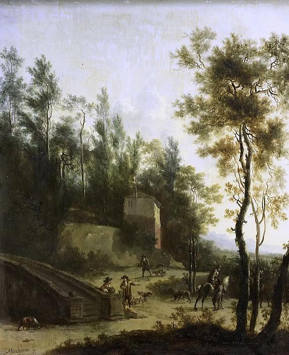 Moucheron, Frederik de -- Italiaans landschap met jagers, 1660-1686. Rijksmuseum: part 1