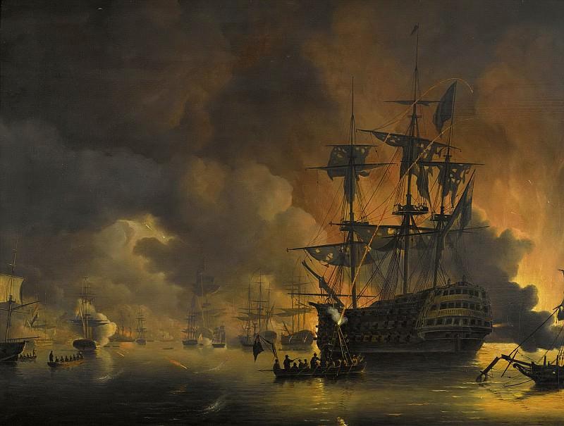 Baur, Nicolaas -- De brand op de werven van Algiers, kort na het begin van het bombardement door de Engels-Nederlandse vloot, 27 augustus 1816., 1816 - 1820. Rijksmuseum: part 1