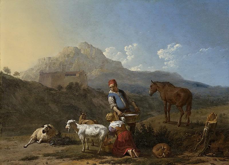 Dujardin, Karel -- Italiaans landschap met geitenmelkster, 1652. Rijksmuseum: part 1