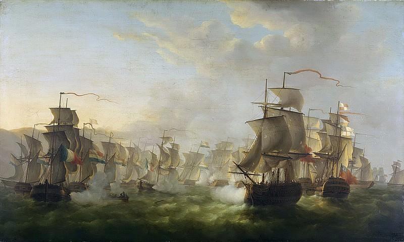 Schouman, Martinus -- Het treffen tussen de Hollandse en de Engelse vloot tijdens de tocht van de Hollandse flottille naar Boulogne, 1805, 1806. Rijksmuseum: part 1