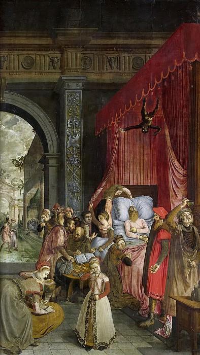 Unknown Artist -- Het sterfbed van de rijke man. Op de achterzijde de beelden van de heiligen Andreas en Michaël op een terras, in grisaille, 1550 - 1574. Rijksmuseum: part 1