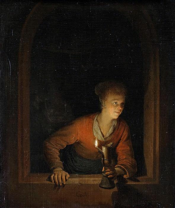 Dou, Gerard -- Meisje met olielamp voor een venster, 1645-1675. Rijksmuseum: part 1