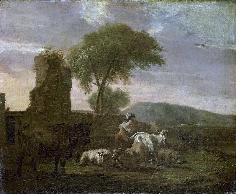 Does, Simon van der -- Italiaans landschap met herderin en vee, 1712. Rijksmuseum: part 1