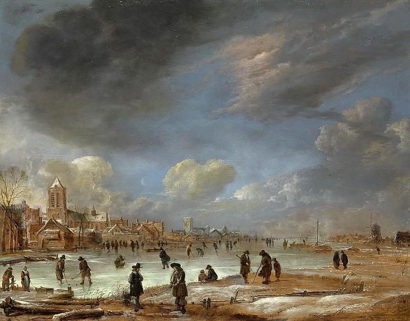 Neer, Aert van der -- Riviergezicht bij winter, 1655-1660. Rijksmuseum: part 1