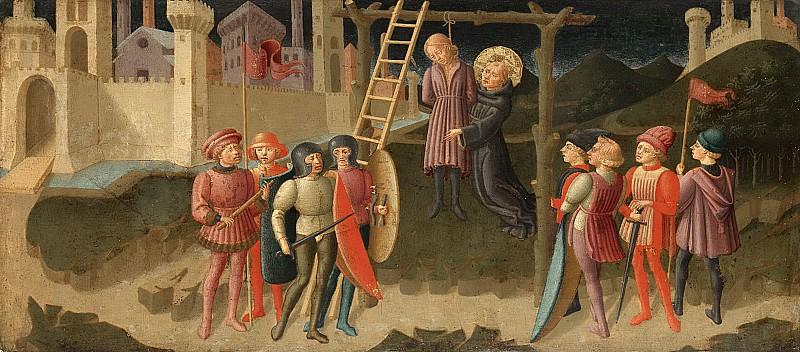 Machiavelli, Zanobi di Jacopo -- De heilige Nicolaas van Tolentino redt een gehangene, 1470. Rijksmuseum: part 1