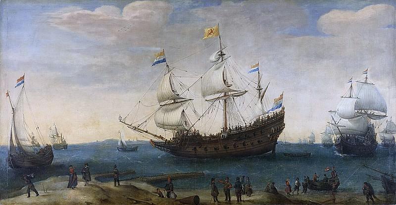 Хендрик Корнелис Вроом -- Несколько кораблей Ост-Индской компании у побережья, 1600-1630. Рейксмузеум: часть 1