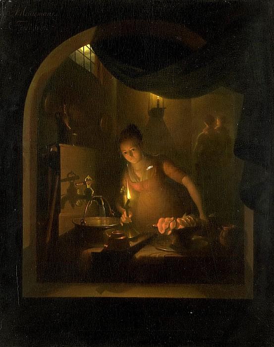 Meulemans, Adriaan -- Keuken bij lamplicht, 1817. Rijksmuseum: part 1