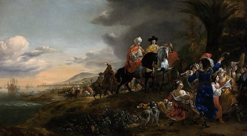 Weenix, Jan Baptist -- Johan van Twist (gest 1643). Als ambassadeur van de Hollandse vloot op weg naar de sultan van Visiapoer. Op de achtergrond de blokkade van Goa, 1645 - 1660. Rijksmuseum: part 1