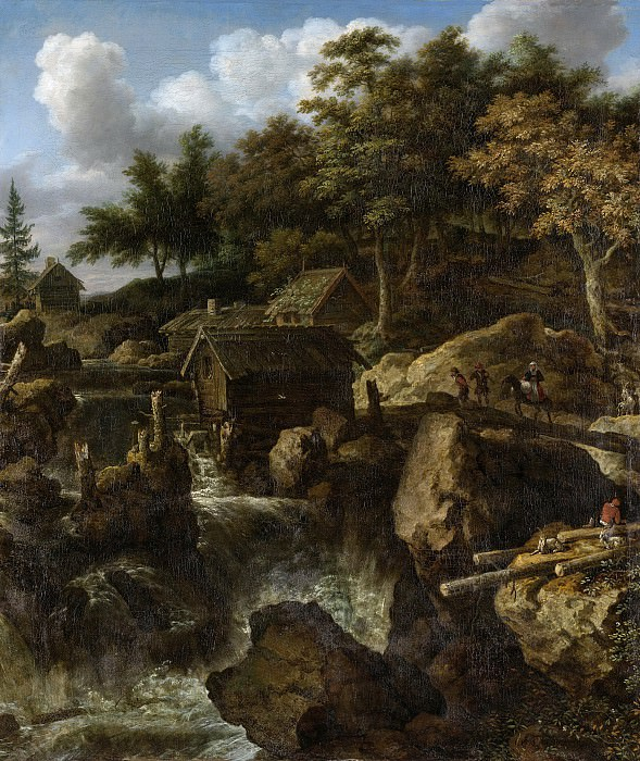 Unknown artist -- Zweeds landschap met waterval, 1650-1675. Rijksmuseum: part 1