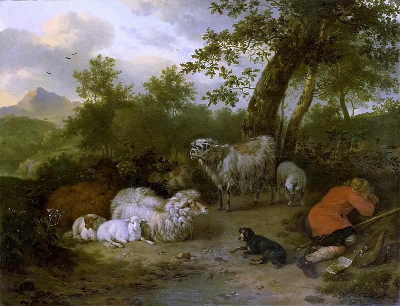 Ян ван дер Меер (II) -- Спящий пастух, 1678. Рейксмузеум: часть 1