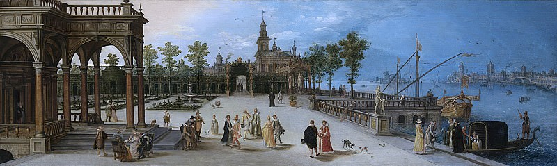 Неизвестный художник -- Элегантная компания на террасе под впечатлением вдохновляющих венецианских красот, 1615. Рейксмузеум: часть 1