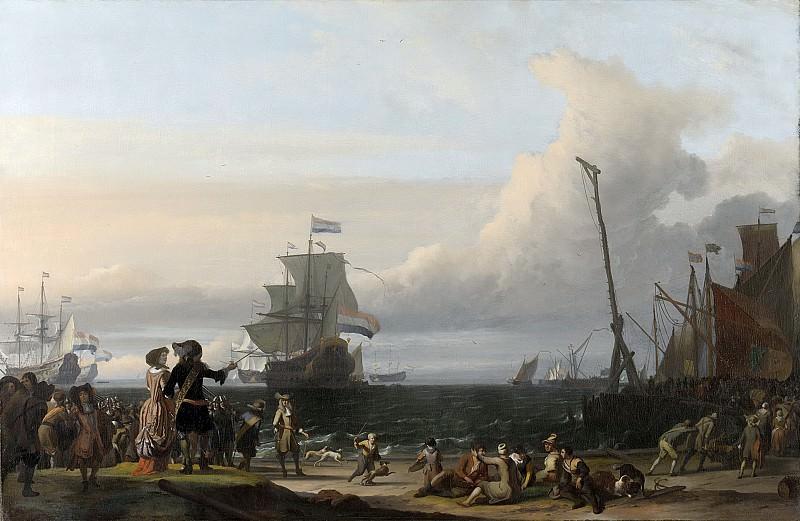 Bakhuysen, Ludolf -- Nederlandse schepen op de rede van Texel; in het midden de 'Gouden Leeuw', het vlaggeschip van Cornelis Tromp, 1671. Rijksmuseum: part 1