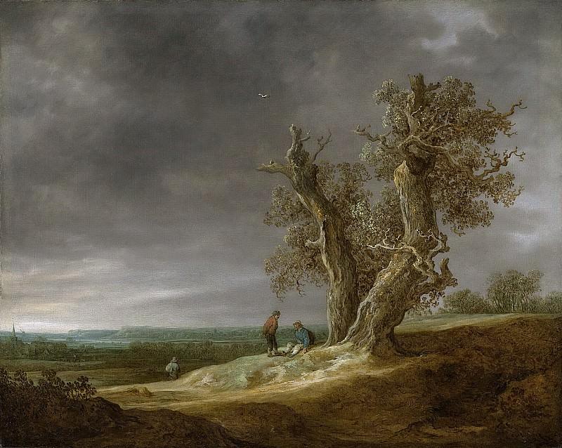 Ян ван Гойен - Пейзаж с двумя старыми дубами, 1641. Рейксмузеум: часть 1