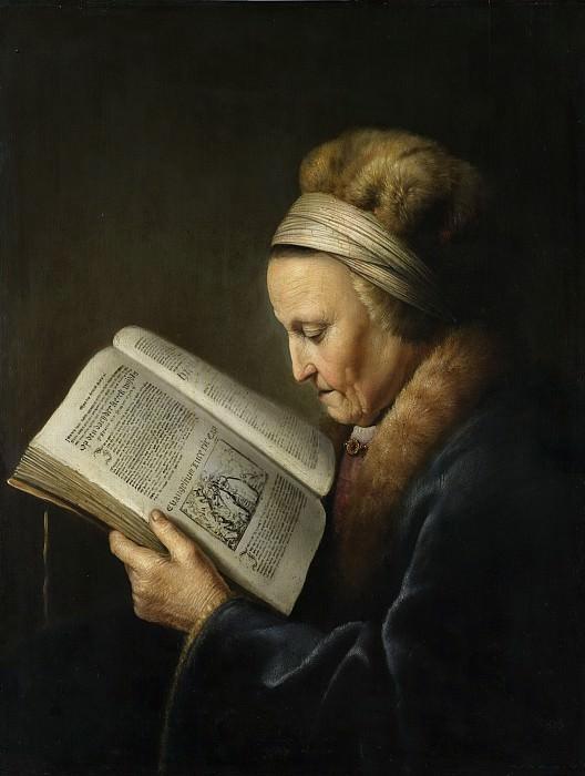 Dou, Gerard -- Oude vrouw lezend in een lectionarium; zogenaamd portret van Rembrandts moeder, Neeltgen Willemsdr van Zuijdtbroeck (gest 1640), 1630 - 1635. Rijksmuseum: part 1