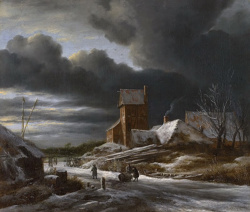 Ruisdael, Jacob Isaacksz. van -- Winterlandschap, 1650-1682. Rijksmuseum: part 1