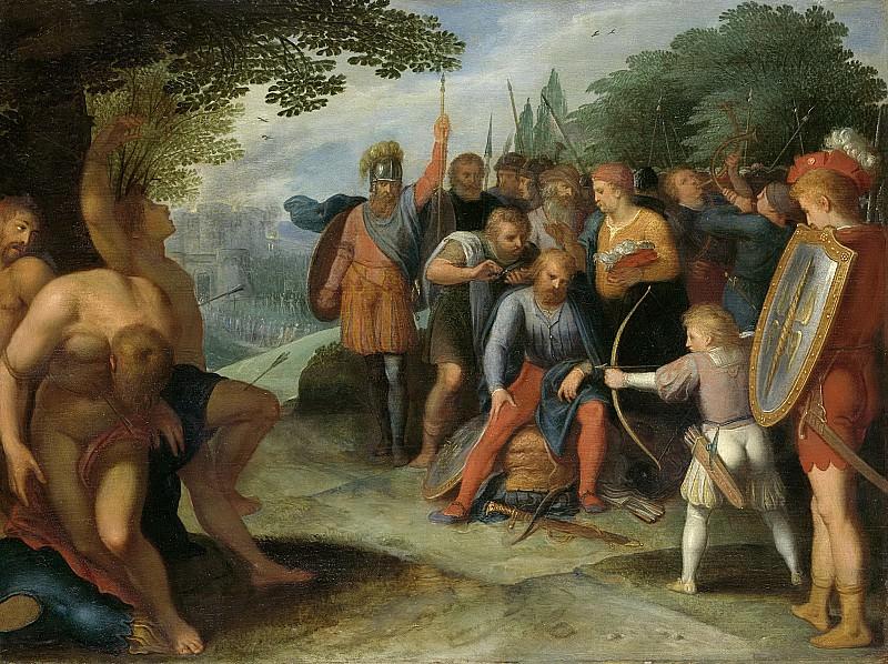 Veen, Otto van -- Na de val van Vetera laat Claudius Civilis zijn haar knippen, terwijl zijn zoontje enige gevangenen doodt, 1600-1613. Rijksmuseum: part 1