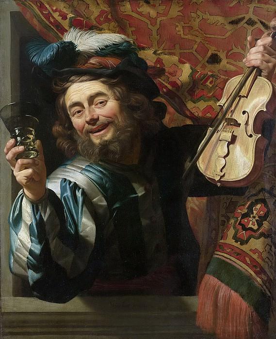 Honthorst, Gerard van -- Een vrolijke vioolspeler die een berkenmeier vasthoudt, 1623. Rijksmuseum: part 1