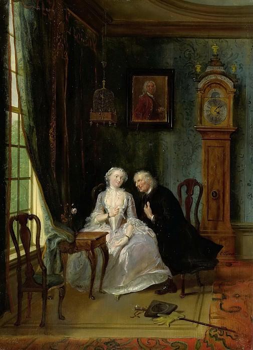 Troost, Cornelis -- De wanhebbelijke liefde', misschien de scène van de weduwnaar Joost bij Lucia, 2de toneel uit het gelijknamige stuk van C J van der Lijn, 1720 - 1750. Rijksmuseum: part 1