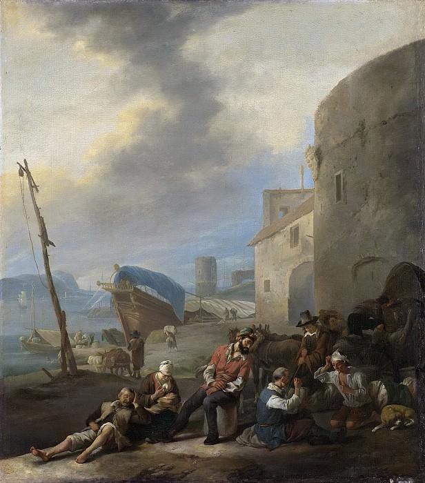 Lingelbach, Johannes -- Italiaanse haven, 1650-1674. Rijksmuseum: part 1