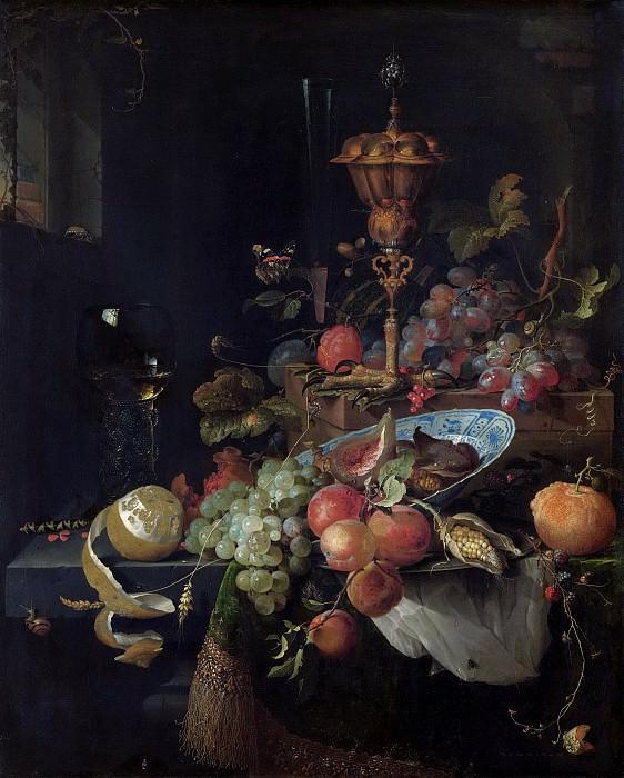 Mignon, Abraham -- Stilleven met vruchten en een bokaal op hanenpoot, 1660-1679. Rijksmuseum: part 1