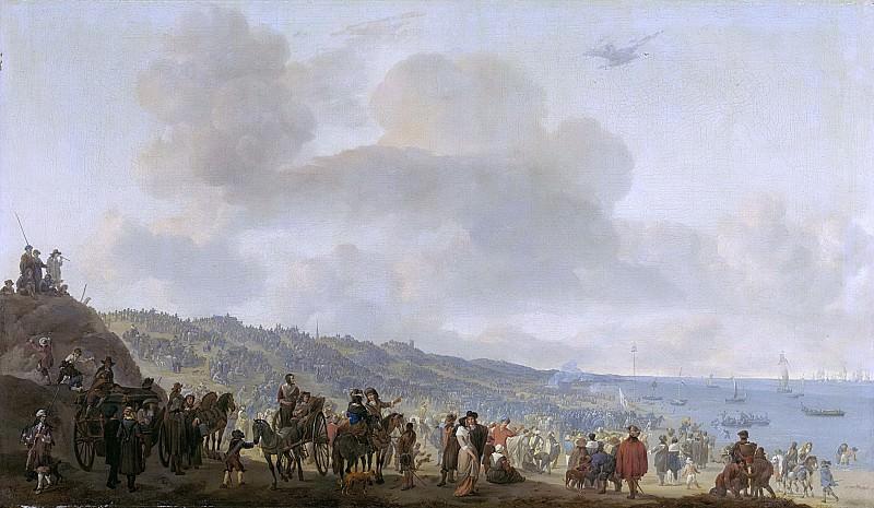 Lingelbach, Johannes -- Het vertrek van Karel II van Engeland, uit Scheveningen, 2 juni 1660, 1660 - 1674. Rijksmuseum: part 1