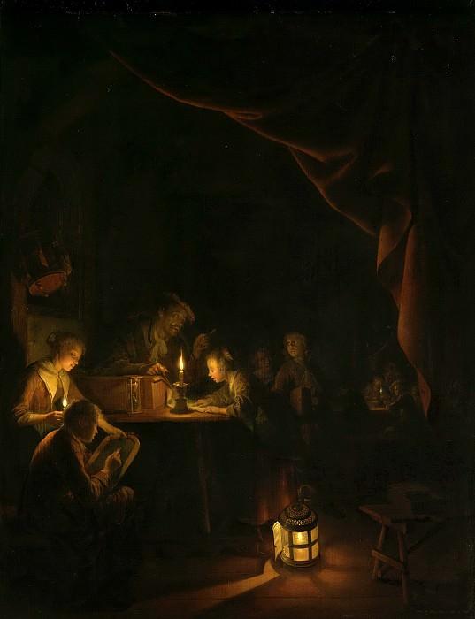 Герард Доу -- Вечерняя школа, 1660-65. Рейксмузеум: часть 1