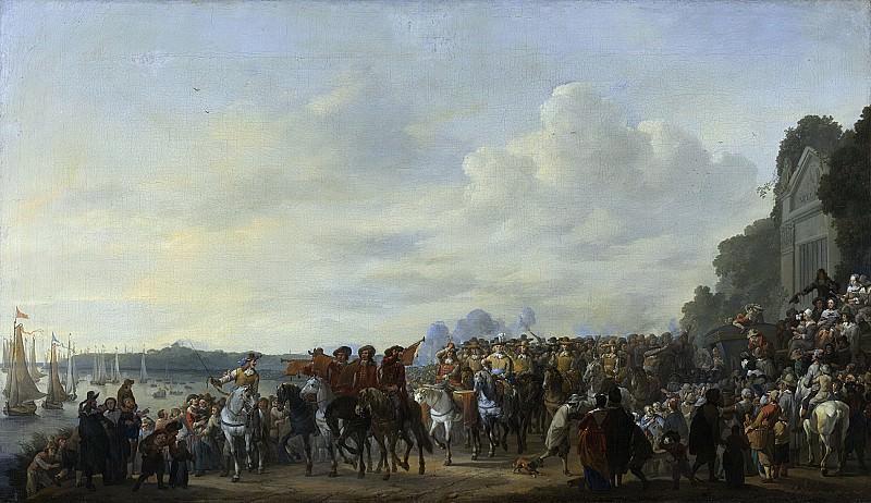 Lingelbach, Johannes -- Het halthouden van Karel II bij de buitenplaats Wema aan de Rotte tijdens zijn tocht van Rotterdam naar Den Haag, 1650 - 1674. Rijksmuseum: part 1