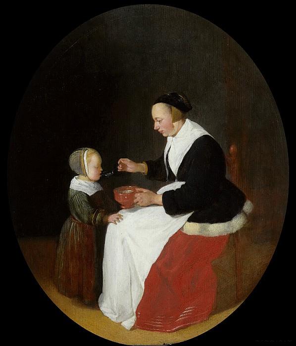 Brekelenkam, Quiringh Gerritsz. van -- Een moeder die haar kind pap voert., 1650 - 1668. Rijksmuseum: part 1