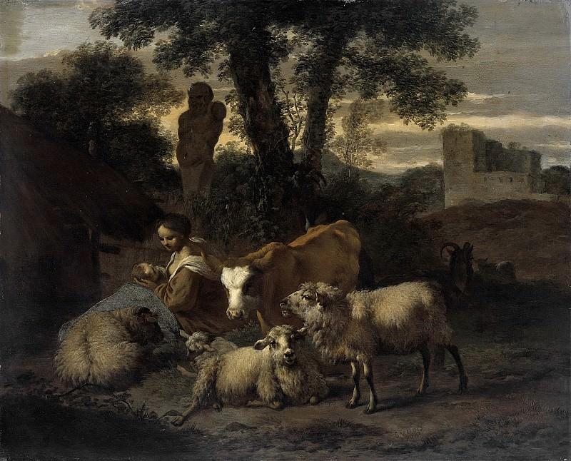 Симон ван дер Дус -- Пастушка и домашний скот на фоне итальянского пейзажа, 1708. Рейксмузеум: часть 1