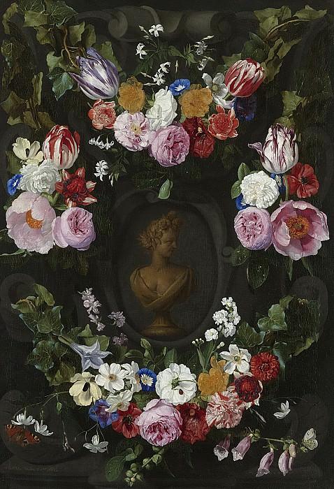 Thielen, Jan Philip van -- Festoen van bloemen om een buste van Flora, 1665. Rijksmuseum: part 1